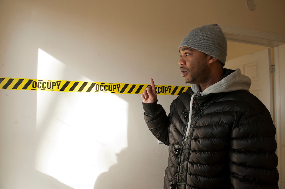 Occupy Housing.Homeless activist Alfredo Carrasquillo, 28, inside the occupied house in East New York, Brooklyn..The East New York foreclosed home had been vacant for three years before for Alfredo Carrasquillo and others took it over for Occupy Wall Street....photo © Stefan Falke.