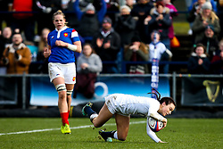 Kelly Smith of England Women scores a try - Mandatory by-line: Robbie Stephenson/JMP - 10/02/2019 - RUGBY - Castle Park - Doncaster, England - England Women v France Women - Women's Six Nations