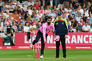 Mohammad Hafeez of Middlesex bowling during the Vitality T20 Blast South Group match between Somerset County Cricket Club and Middlesex County Cricket Club at the Cooper Associates County Ground, Taunton, United Kingdom on 30 August 2019.