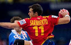 Daniel Sarmiento of Spain during handball match between Croatia and Spain for 3rd place game at 10th EHF European Handball Championship Serbia 2012, on January 29, 2012 in Beogradska Arena, Belgrade, Serbia.  (Photo By Vid Ponikvar / Sportida.com)
