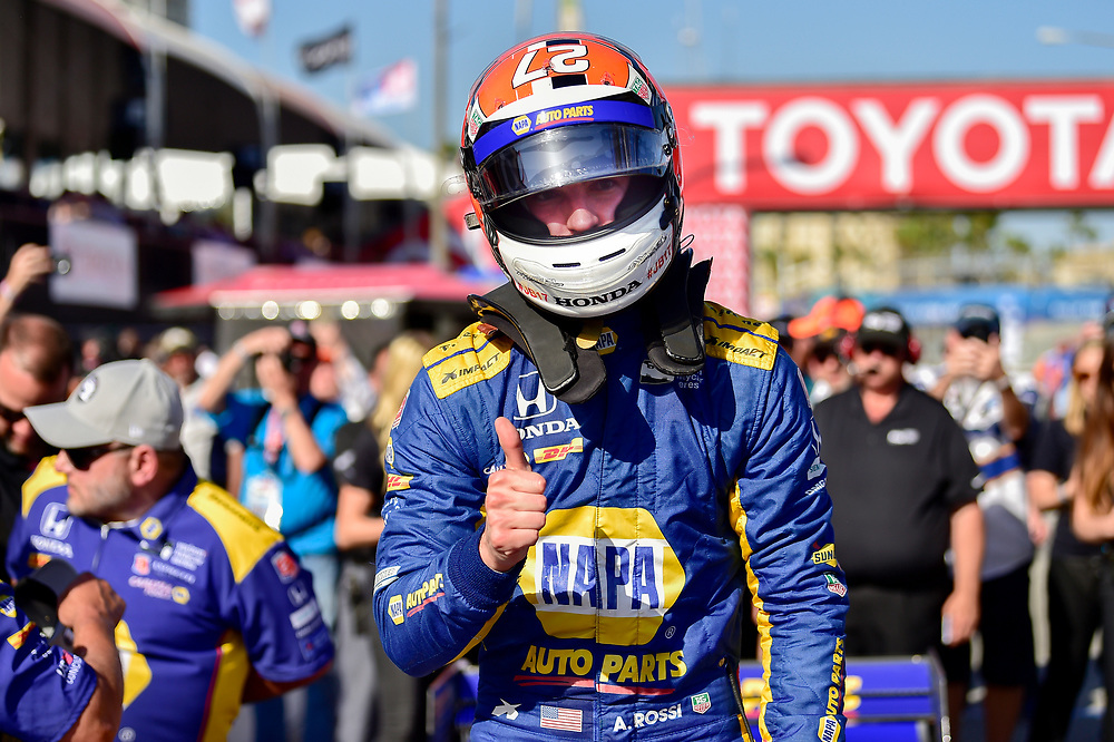 Alexander Rossi, Andretti Autosport Honda celebrates winning the Verizon P1 Pole Award<br /> Saturday 14 April 2018<br /> Toyota Grand Prix of Long Beach<br /> Verizon IndyCar Series<br /> Streets of Long Beach, California USA<br /> World Copyright: Scott R LePage<br /> LAT Images