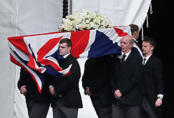 The coffin containing the body of Baroness Thatcher arrives at the entrance to the Chapel of St Mary Undercroft at the Palace of Westminster  in London,  Tuesday 16th April in readiness for tomorrows funeral. Photo by: Stephen Lock / i-Images<br /> <br /> File photo - One year ago: Baroness Thatcher died.<br /> On Tue, Apr 8 2014 it will be one year since the Longest-serving UK Prime Minister of the 20th century, the first and only woman to serve in the role to date, died on April 8, 2013  after suffering a stroke.
