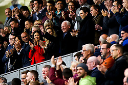 Dave Whelan waves to the Wigan Athletic crowd as they applaud him on 23 minutes to celebrate the 23 year anniversary of when he took over the club  - Mandatory by-line: Robbie Stephenson/JMP - 04/11/2018 - FOOTBALL - DW Stadium - Wigan, England - Wigan Athletic v Leeds United - Sky Bet Championship