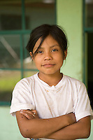 Girl in front of school, Panabaj, Guatemala.
