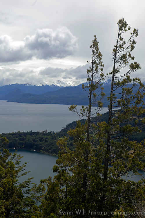 South America, Argentina, Bariloche. Cerro Campanario View of Lakes and Mountains of Bariloche.