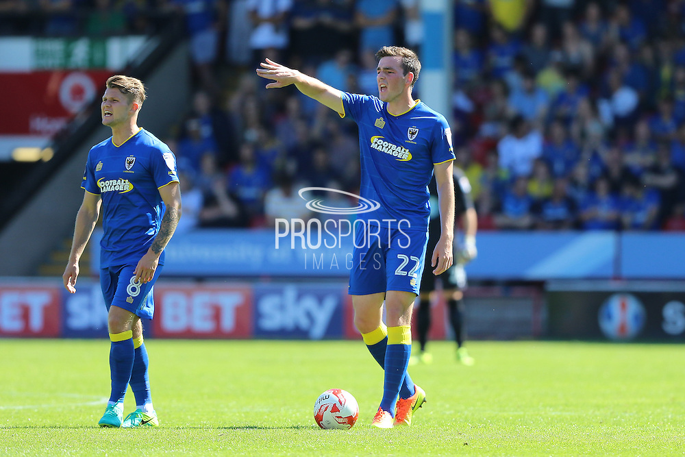 AFC Wimbledon midfielder Jake Reeves (8) and AFC Wimbledon defender Sean Kelly (22)  during the EFL Sky Bet League 1 match between Walsall and AFC Wimbledon at the Banks's Stadium, Walsall, England on 6 August 2016. Photo by Stuart Butcher.