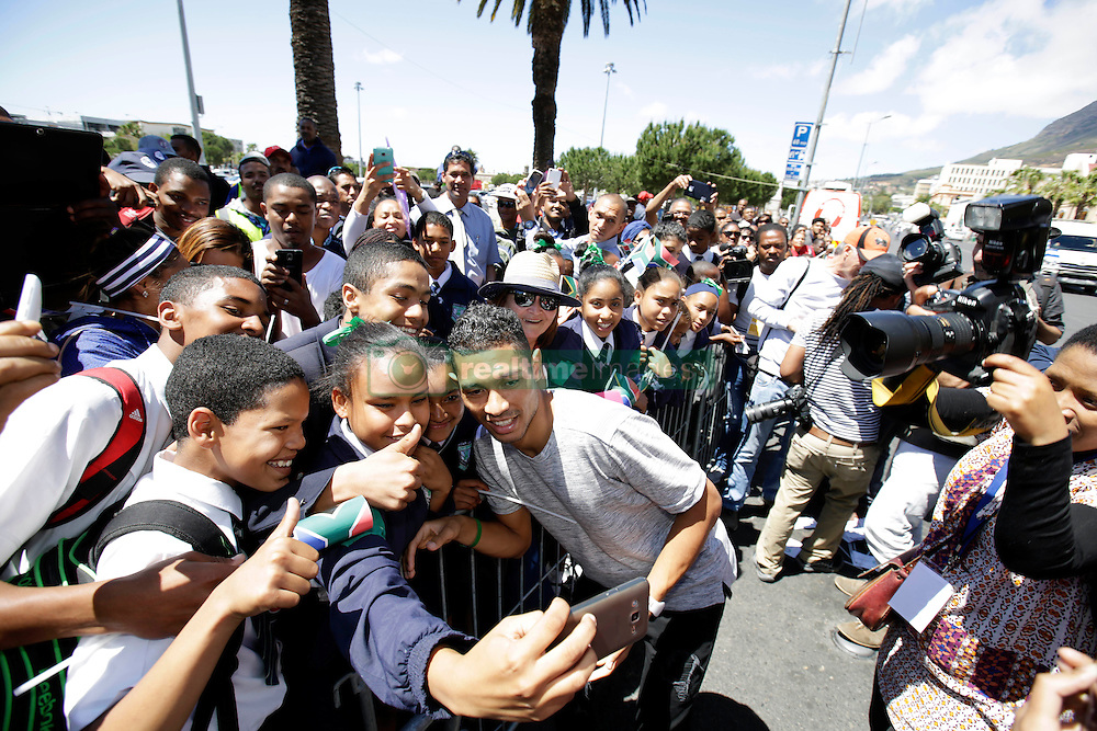 Monday 17th October 2016.<br /> Grand Parade & Greenpoint Athletics Stadium, Cape Town,<br /> Western Cape, South Africa.<br /> <br /> Cape Town Honours South African Olympic And Paralympic Heroes<br /> <br /> Olympic Champion and 400 Metre World Record Holder Wayde Van Niekerk takes a selfie with an excited fan while signing autographs at Grand Parade.<br /> <br /> Cape Town honours the South African Olympic and Paralympic heroes during a special celebratory event held in Cape Town, Western Cape, South Africa on Monday 17 October 2016.<br /> <br /> Picture By: Mark Wessels / Real Time Images.