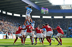 Tomas Lavanini of Argentina wins the ball at a lineout - Mandatory byline: Patrick Khachfe/JMP - 07966 386802 - 04/10/2015 - RUGBY UNION - Leicester City Stadium - Leicester, England - Argentina v Tonga - Rugby World Cup 2015 Pool C.