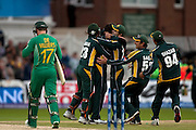 Shahid Afridi celebrates bowling AB de Villiers during the ICC World Twenty20 Cup semi-final between South Africa and Pakistan at Trent Bridge. Photo © Graham Morris (Tel: +44(0)20 8969 4192 Email: sales@cricketpix.com)