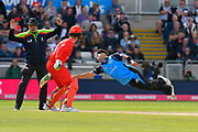 Brett D'Oliveira of Worcestershire trys to stop the ball with an acrobatic dive during the Vitality T20 Finals Day Semi Final 2018 match between Worcestershire Rapids and Lancashire Lightning at Edgbaston, Birmingham, United Kingdom on 15 September 2018.