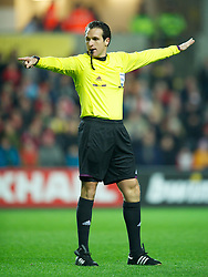 SWANSEA, WALES - Tuesday, March 26, 2013: Referee Luca Banti during the 2014 FIFA World Cup Brazil Qualifying Group A match between Wales and Croatia at the Liberty Stadium. (Pic by David Rawcliffe/Propaganda)