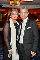 Labour London Mayor candidate 2016 SADIQ KHAN and his wife SAADIYA at the 6th annual Asian Awards held at The Grosvenor House Hotel, Park Lane, London on 8th April 2016.