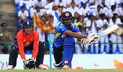 October 20, 2018 - Kandy, Sri Lanka - Sri Lankan cricketer Dasun Shanaka plays a shot  during the 4th One Day International cricket match between Sri Lanka and England at the Pallekele International Cricket Stadium  Sri Lanka. Saturday 20 October 2018  (Credit Image: © Tharaka Basnayaka/NurPhoto via ZUMA Press)