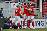 Goal celebration  by Middlesbrough forward Britt Assombalonga (9)  during the EFL Sky Bet Championship match between Middlesbrough and Stoke City at the Riverside Stadium, Middlesbrough, England on 19 April 2019.