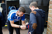 Bradford City Goalkeeper Colin Doyle (1) signs the shirt of a young fan as the coach arrives during the EFL Sky Bet League 1 match between Gillingham and Bradford City at the MEMS Priestfield Stadium, Gillingham, England on 12 August 2017. Photo by Andy Walter.