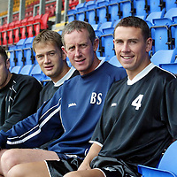 St Johnstone back in training..01.07.02<br />Manager Billy Stark with three new faces to help in the fight to win promotion back to th SPL, from left, Mark Reilly, Ian Maxwell, Billy Stark and John Robertson<br /><br />See story by Gordon Bannerman Tel: 01738 493213<br />Pic by Graeme Hart<br />Copyright Perthshire Picture Agency<br />Tel: 01738 623350 / 07990 594431