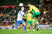 Norwich City midfielder Ben Marshall (7) wins this header during the The FA Cup 3rd round match between Norwich City and Portsmouth at Carrow Road, Norwich, England on 5 January 2019.