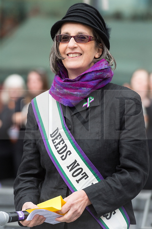 © Licensed to London News Pictures. 05/03/2017. DR. HELEN PANKHURST , the great-granddaughter of Emmeline Pankhurst and granddaughter of Sylvia Pankhurst, leaders in the British suffragette movement<br /> takes part in a rally raising awareness of women and girls in third world countries who spend days walking for water. March also marks CARE's annual celebration for International Women's Day. London, UK. Photo credit: Ray Tang/LNP