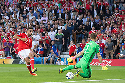 TOULOUSE, FRANCE - Monday, June 20, 2016: Wales' Neil Taylor sees his first shot saved by Russia's Russia goalkeeper Igor Akinfeev before scoring the second goal from the re-bound during the final Group B UEFA Euro 2016 Championship match at Stadium de Toulouse. (Pic by Paul Greenwood/Propaganda)
