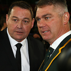 JOHANNESBURG, SOUTH AFRICA - JULY 25: (L) Steve Hansen (Head Coach) New Zealand with Heyneke Meyer (Head Coach) of South Africa during The Castle Lager Rugby Championship 2015 match between South Africa and New Zealand at Emirates Airline Park on July 25, 2015 in Johannesburg, South Africa. (Photo by Steve Haag/Gallo Images)