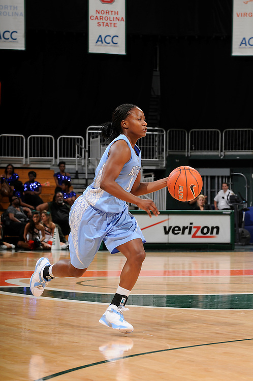 February 8, 2012: She'la White #1 of North Carolina in action during the NCAA basketball game between the Miami Hurricanes and the North Carolina Tar Heels at the Bank United Center in Coral Gables, FL. The Hurricanes defeated the Tar Heels 61-37.