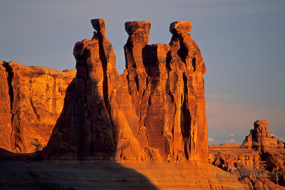 Sunrise light on the Three Gossips Arches National Park, UTAH