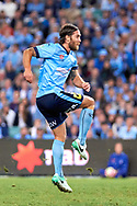 April 29, 2017: Sydney FC midfielder Joshua BRILLANTE (6) strikes and scores at Semi Final one of the 2016/17 Hyundai A-League match, between Sydney FC and Perth Glory, played at Allianz Stadium in Sydney.