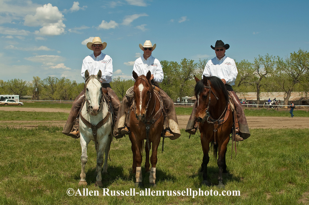 Rodeo pickup men Kyle Shaw, Jay Shaw, and Lynn Ashley, Miles City Bucking Horse Sale, Montana, MODEL RELEASED