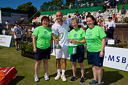 LIVERPOOL, ENGLAND - Sunday, June 18, 2017: Men's Champion Steve Darcis (BEL) with the trophy stops for a photo with the Clatterbridge Cancer Charity during Day Four of the Liverpool Hope University International Tennis Tournament 2017 at the Liverpool Cricket Club. (Pic by David Rawcliffe/Propaganda)