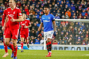 Alfredo Morelos feeling aggrieved during the William Hill Scottish Cup quarter final replay match between Rangers and Aberdeen at Ibrox, Glasgow, Scotland on 12 March 2019.