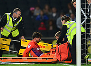Matt Crooks of Northampton prepares for the stretcher as he has an injury .EFL Skybet football league one match, MK Dons v Northampton Town at the Stadium MK in Milton Keynes on Tuesday 26th September 2017.<br /> pic by Bradley Collyer, Andrew Orchard sports photography.