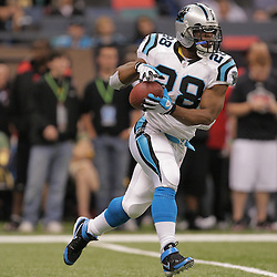 2008 December, 28: Carolina Panthers running back Jonathan Stewart (28) run the ball in warmups prior to kickoff of a week 17 game between NFC South divisional rivals the Carolina Panthers and the New Orleans Saints at the Louisiana Superdome in New Orleans, LA.