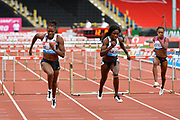 Danielle Williams (JAM) left, runs to the tape to win the women's 100m hurdles Final equalising the Meeting Record time of 12.46 ahead of Tobi Amusan (NGR) right, during the Birmingham Grand Prix, Sunday, Aug 18, 2019, in Birmingham, United Kingdom. (Steve Flynn/Image of Sport)
