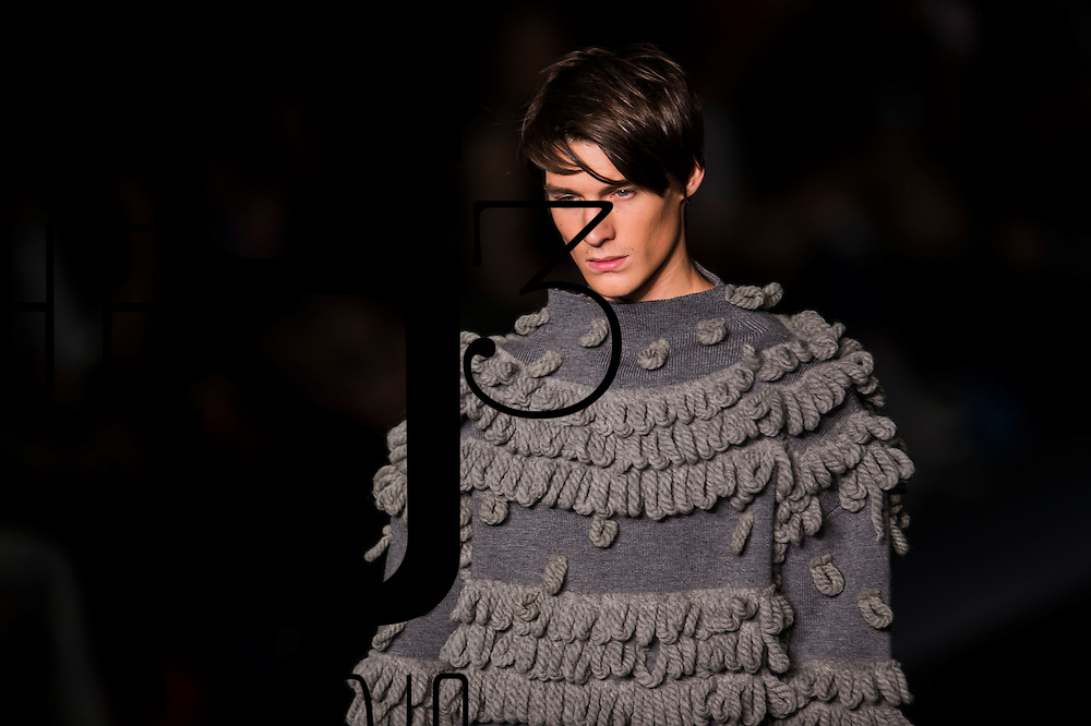A model showcases designs of Kwong Yan Loi of Hong Kong on the runway during the ELUCIDATION show by Raffles Design Institute Hong Kong on the Day 4 of the CentreStage Fashion Week Hong Kong 2016 at Hong Kong Convention and Exhibition Centre on 10 September 2016 in Hong Kong, China. Photo by Marcio Machado / studioEAST