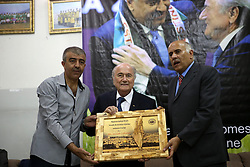 19.05.2015, Ramallah, PSE, FIFA Präsident Blatter besucht Palästina, im Bild der FIFA PRäsident Sepp Blatter bei seinem Palästina Besuch // Palestine Football Association President Jibril Rajoub honors FIFA president Joseph Blatter during their visit to Jalazoun refugee camp, near the West Bank city of Ramallah. Blatter hopes to head off a Palestinian call for a vote to expel Israel from football's governing body but that Israel must make a concession, Palestine on 2015/05/19. EXPA Pictures © 2015, PhotoCredit: EXPA/ APAimages/ Shadi Hatem<br /> <br /> *****ATTENTION - for AUT, GER, SUI, ITA, POL, CRO, SRB only*****