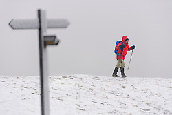 © Licensed to London News Pictures. 12/02/2017. Princess Risborough, UK. A walker braves the cold temperatures as he walks through a snow covered landscape on The Ridgeway, near  Princess Risborough, Buckinghamshire, south east England, as large parts of the UK wake to freezing temperatures and snowfall over night. Photo credit: Ben Cawthra/LNP