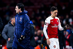 Mesut Ozil of Arsenal walks past Arsenal manager Unai Emery  - Mandatory by-line: Robbie Stephenson/JMP - 13/12/2018 - FOOTBALL - Emirates Stadium - London, England - Arsenal v Qarabag - UEFA Europa League group stage