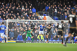 JONAS KNUDSEN IPSWICH TOWN, NELSON OLIVEIRA MISSES HIS CHANCE TO PUT FOREST IN THE LEAD AS IPSWICH KEEPER MAKES A GRAET SAVE, Ipswich Town v Nottingham Forest, Sky Bet Championship, Portman Road Stadium, Saturday 5th March 2016.
