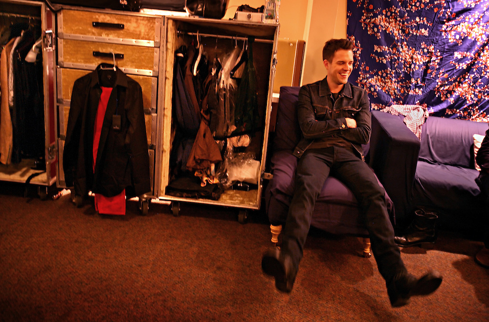 The post-punk band The Killers perform at the Hammerstein Ballroom at Manhattan Center Studios in New York, N.Y. on Oct. 24, 2008. Singer Brandon Flowers jokes with bandmates and other touring musicians backstage before their show.
