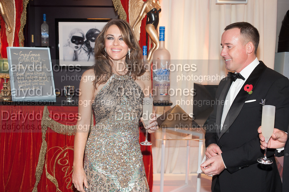 ELIZABETH HURLEY; DAVID FURNISH, Grey Goose Winter Ball to benefit the Elton John Aids Foundation. Battersea Power Station. London. 10 November 2012.