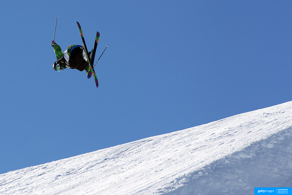 Cyrill Hunziker, Switzerland, in action during the Freeski Slopestyle Men's Final at Snow Park, New Zealand during the Winter Games. Wanaka, New Zealand, 18th August 2011. Photo Tim Clayton