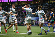 Camille CHAT (Racing 92) scored a try and celebrated it during the French championship Top 14 Rugby Union match between Racing 92 and SU Agen on September 8, 2018 at U Arena in Nanterre, France - Photo Stephane Allaman / ProSportsImages / DPPI