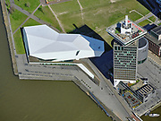 Nederland, Noord-Holland, Amsterdam; 23-03-2020; een lege IJpromenade bij Eye Filmmuseum, geen bezoekers op de terrassen. Ook A'dam Lookout ligt er stil bij.<br /> Het publieke leven in het centrum van de hoofdstad is bijna geheel stil komen te liggen als gevolg van het Corona virus. Niet alleen is alle horeca dicht, ook veel winkels en andere bedrijven zijn gesloten. Het publiek blijft over het algemeen binnen, de straten en pleinen zijn stil.<br /> An empty IJpromenade at Eye Film Museum, no visitors on the terraces. A'dam Lookout is also thinking about it.<br /> Public life in the center of the capital has come to a complete standstill as a result of the Corona virus. Not only are all pubs, coffee shops and restaurants,  closed, many shops and other companies are also closed. The public generally stays inside, the streets and squares are very quiet.<br /> <br /> luchtfoto (toeslag op standaard tarieven);<br /> aerial photo (additional fee required)<br /> copyright © 2020 foto/photo Siebe Swart