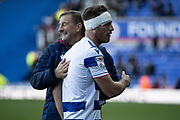 Michael Morrison (4) of Reading celebrates the win during the EFL Sky Bet Championship match between Reading and Preston North End at the Madejski Stadium, Reading, England on 19 October 2019.
