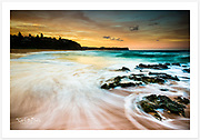 A glowing winter sunset on Sydney's northern beaches [Warriewood Beach, NSW]<br />