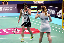 Mizuki Fuji of Bristol Jets and Jess Hopton of Bristol Jets celebrate winning a point in their women's doubles match - Photo mandatory by-line: Robbie Stephenson/JMP - 07/11/2016 - BADMINTON - University of Derby - Derby, England - Team Derby v Bristol Jets - AJ Bell National Badminton League