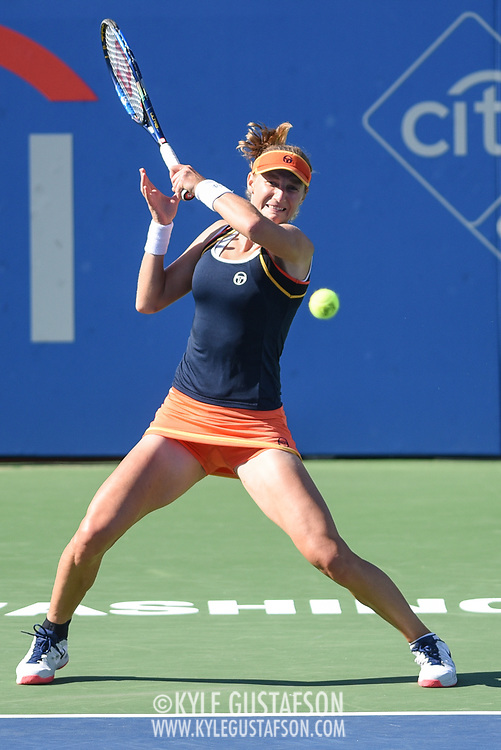 EKATERINA MAKAROVA hits a forehand during her semifinal match at the Citi Open at the Rock Creek Park Tennis Center in Washington, D.C.