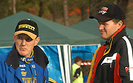 Dean Herridge talks with Scott Pedder before the start of SS16.2003 Rally of Canberra .Canberra, ACT, Australia.25-27th of April 2003.(C) Joel Strickland Photographics