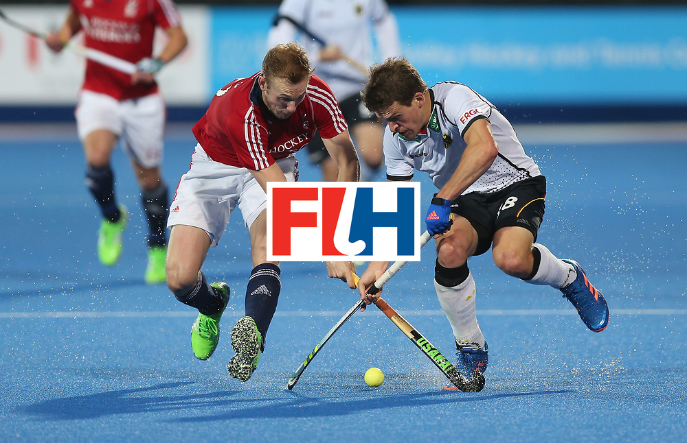 LONDON, ENGLAND - JUNE 14:  Oliver Korn of Germany and David Ames of Great Britain during the FIH Mens Hero Hockey Champions Trophy match between Great Britain and Germany at Queen Elizabeth Olympic Park on June 14, 2016 in London, England.  (Photo by Alex Morton/Getty Images)