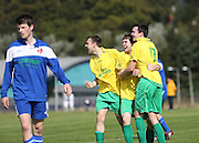 Jamie Leith (2nd right is congratulated after scoring the winning goal for Hilltown Hotspur (yellow) against DC Athletic (blue) in the Dundee Saturday Morning Football League Adamson Cup Final<br /> <br />  - &copy; David Young - www.davidyoungphoto.co.uk - email: davidyoungphoto@gmail.com